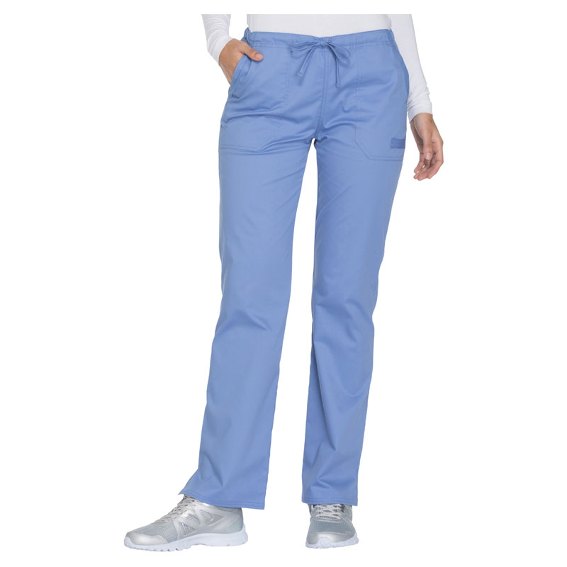 6729ba77773 Cherokee Workwear Core Stretch Ladies Mid Rise Straight Leg Drawstring Pant  - Petite 28 1/