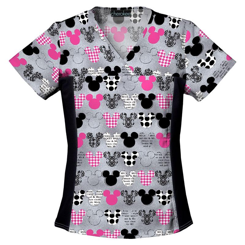 CHEROKEE Womens V-Neck Knit Panel Top Mickey